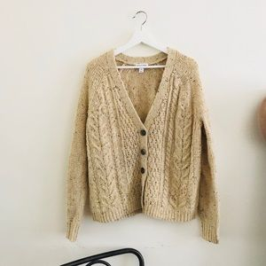 Simple Wool Blend Confetti Sweater Cardigan
